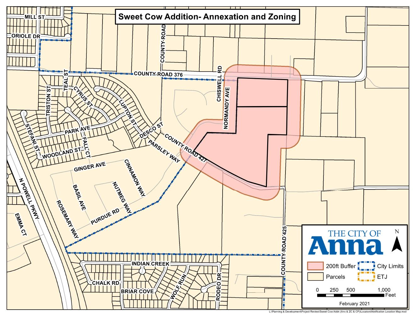 Map of Annexation location of Sweet Cow Addition