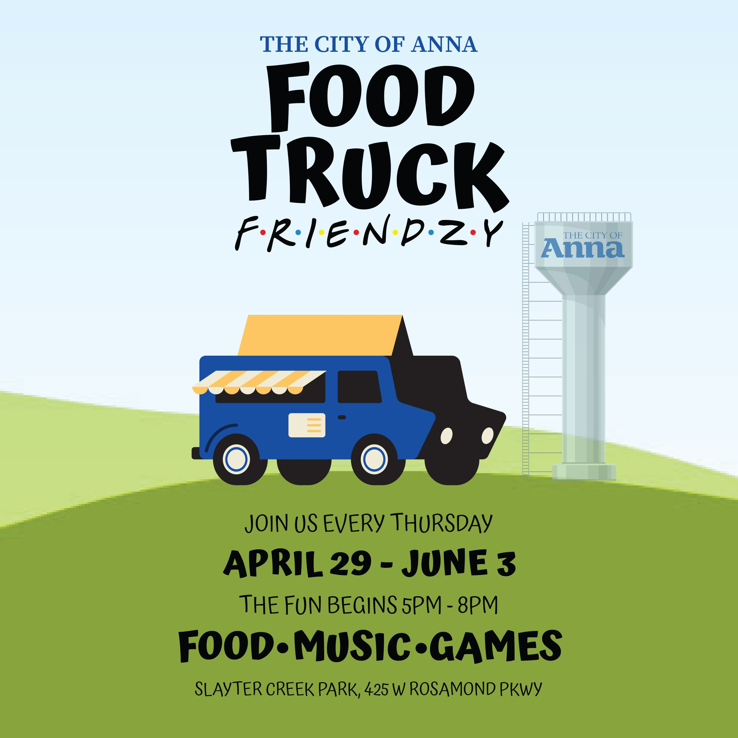Our six-week-long Food Truck events begin Thursday, April 29, in Slayter Creek Park from 5-8pm.